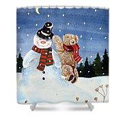 Snowman In Top Hat Shower Curtain by Gordon Lavender