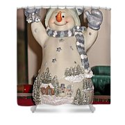 Snowman With Bell Shower Curtain