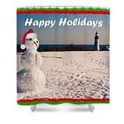 Snowman With Santa Hat Shower Curtain