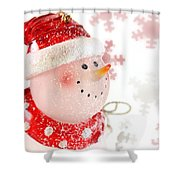 Snowman With Snowflakes  Shower Curtain