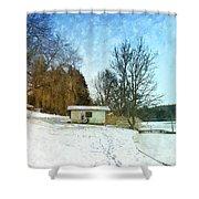 Snowy Beach Shower Curtain by Jutta Maria Pusl