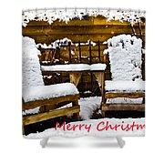 Snowy Coffee Holiday Card Shower Curtain