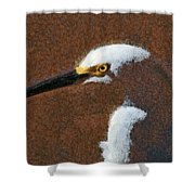 Snowy Egret Profile Painterly Shower Curtain