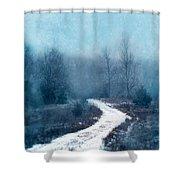 Snowy Foggy Rural Path Shower Curtain
