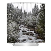 Snowy Foliage Along Stream In Autumn Shower Curtain