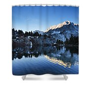 Snowy Mountain Reflections Shower Curtain