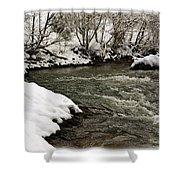 Snowy Mountain River Shower Curtain