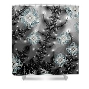 Snowy Night II Fractal Shower Curtain