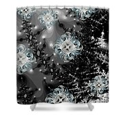 Snowy Night IIi Fractal Shower Curtain
