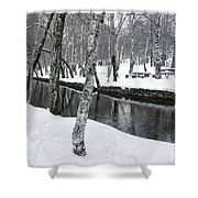 Snowy Park Shower Curtain by Carlos Caetano