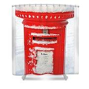 Snowy Pillar Box Shower Curtain