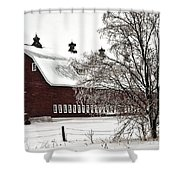 Snowy Red Barn Shower Curtain