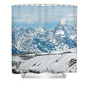 Snowy Tetons Shower Curtain