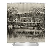 Snyder Road Bridge At Green Lane Park In Sepia Shower Curtain