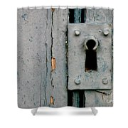 Soft Blue Door And Lock Shower Curtain