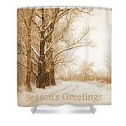Soft Sepia Season's Greetings Shower Curtain
