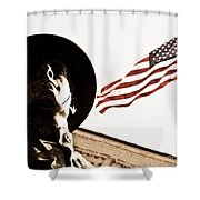 Soldier And Flag Shower Curtain