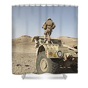 Soldier Climbs A Damaged Husky Tactical Shower Curtain by Stocktrek Images