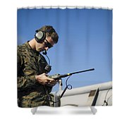Soldier Conducts A Communications Check Shower Curtain