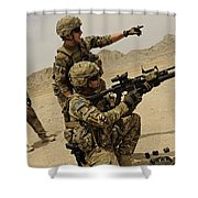 Soldier Directing A Fellow Soldier Shower Curtain