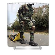 Soldier Drags A Simulated Attack Victim Shower Curtain
