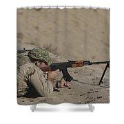 Soldier Fires A Russian Rpk Kalashnikov Shower Curtain