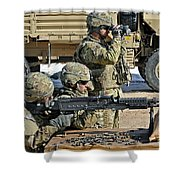 Soldier Firing A M240b Machine Gun Shower Curtain