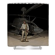 Soldier Holding A .50 Caliber Machine Shower Curtain