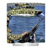 Soldier Mans A M240g Machine Gun While Shower Curtain