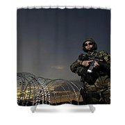 Soldier Patrols The Perimeter Of Camp Shower Curtain