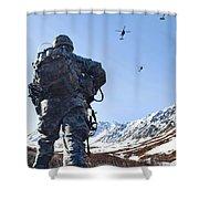 Soldier Patrols Through Alaska's Shower Curtain