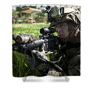Soldier Provides Security Shower Curtain