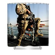 Soldier Stands Watch Aboard Uss Momsen Shower Curtain