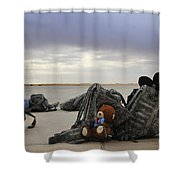 Soldiers Backpacks On The Flight Line Shower Curtain