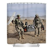 Soldiers Carry An Rq-11 Raven Unmanned Shower Curtain