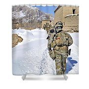 Soldiers Conduct A Patrol In Shah Joy Shower Curtain