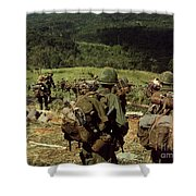 Soldiers Descend The Side Of Hill 742 Shower Curtain