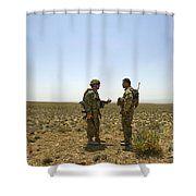 Soldiers Discuss, Drop Zone Shower Curtain