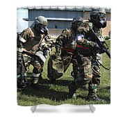 Soldiers Dressed In Chemical Warfare Shower Curtain