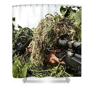 Soldiers Dressed In Ghillie Suits Shower Curtain