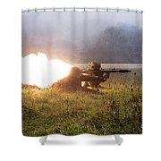 Soldiers Fire A Rocket Propelled Shower Curtain