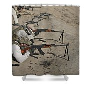 Soldiers Fire A Russian Rpk Kalashnikov Shower Curtain