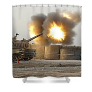 Soldiers Fire The Howitzers Shower Curtain