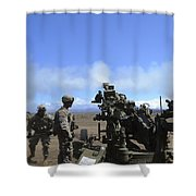 Soldiers Firing The M777 Howitzer Shower Curtain