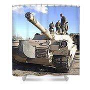 Soldiers Get Their Battletank Ready Shower Curtain