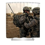 Soldiers Help One Another Shower Curtain by Stocktrek Images