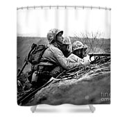 Soldiers Locate Enemy Position On A Map Shower Curtain