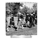 Soldiers March Black And White IIi Shower Curtain