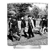 Soldiers March Black And White Shower Curtain