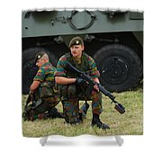 Soldiers Of An Infantry Unit Shower Curtain by Luc De Jaeger